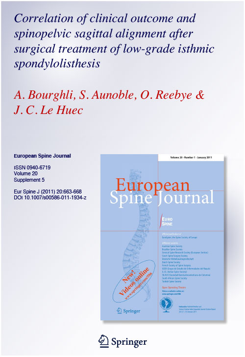 Correlation of clinical outcome and spinopelvic sagittal alignment after surgical treatment of low-grade isthmic spondylolisthesis